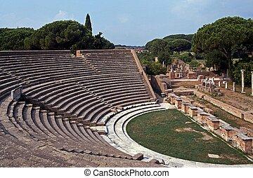 Ruins of Roman Theatre, Ostia Antica, Rome, Lazio, Italy, Europe.