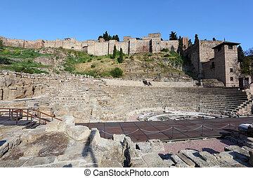 Roman theatre ruin in Malaga, Andalusia, Spain