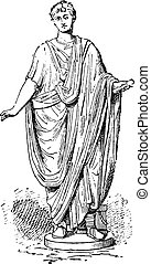 Roman toga, vintage engraving. - Roman toga, vintage...