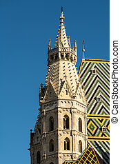 Roman tower of St. Stephen's Cathedral in Vienna on a sunny day