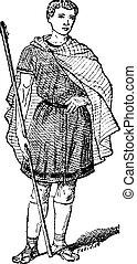 Roman Tunic, vintage engraving - Roman Tunic, vintage ...