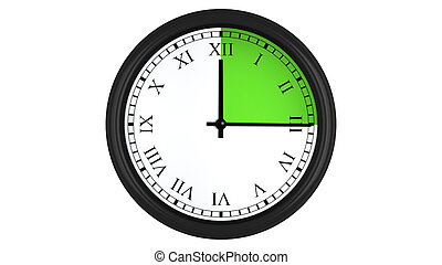 Roman wall clock with green 15 minutes time interval - Wall...