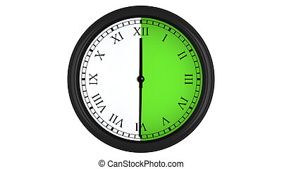 Roman wall clock with green 30 minutes time interval