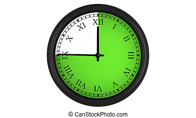 Roman wall clock with green 45 minutes time interval