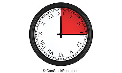 Roman wall clock with red 15 minutes time interval