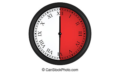 Roman wall clock with red 30 minutes time interval