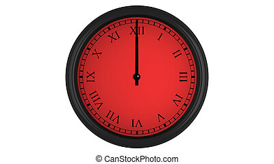 Roman wall clock with red 60 minutes time interval