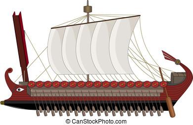 Roman war ship cartoon - Illustration of ancient Rome...