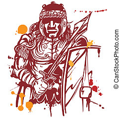 roman warrior on white background