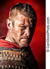 roman warrior - Portrait of a courageous ancient warrior in...