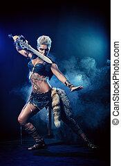 roman warrior - Portrait of a beautiful female warrior in...