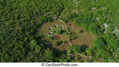 Roman wells aerial in Rajcice near Split - Aerial view of...