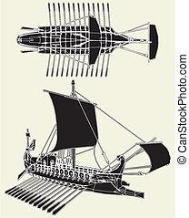 romana, antiga, navio