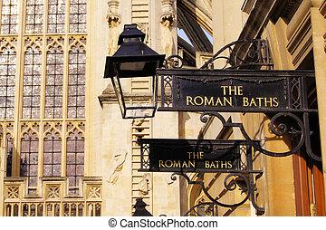 romana, banho, sinais, banhos