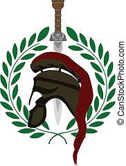 romana, capacete, e, espada