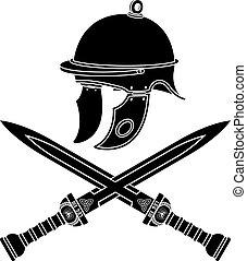 romana, capacete, e, espadas
