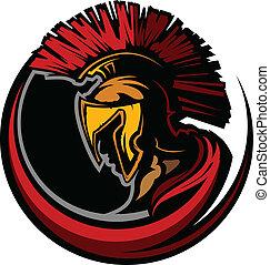 romana, centurion, mascote, cabeça, com, ele