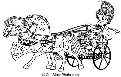romana, chariot, caricatura, esboço