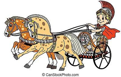 romana, chariot, caricatura