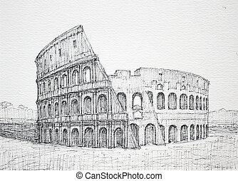 romana, cityscape, colosseum
