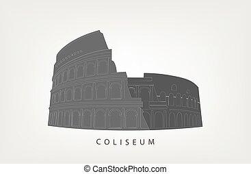 romana, colosseum, isolado, branco, fundo