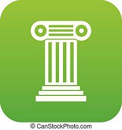 romana, coluna, ícone, digital, verde