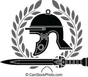 romana, estêncil, capacete
