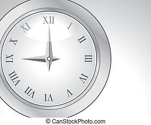 romana, relógio, prata, disco