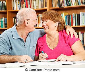 romance, à, les, bibliothèque