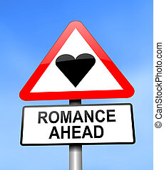 Romance ahead. - Illustration depicting red and white...