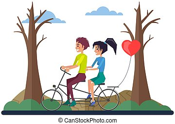 Romance and romantic relationship, couple on date riding bicycle and balloon vector. Girl and guy on bike, walk in park destroyed by human activity. Dirty, dry, greenless nature. Save planet concept