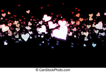 Romance Background with Floating Hearts as Art
