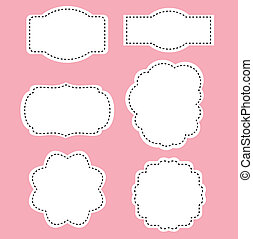 romance, branca, etiquetas, ligado, fundo cor-de-rosa