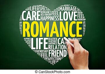 romance, colagem, palavra, nuvem