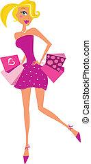 romance, compras, mujer, en, rosa