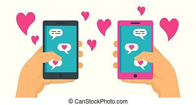 romance, conceito, namorando, online