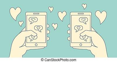 romance, concept., dater, retro, ligne