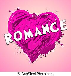 romance, coração, mostrando, amor, celebração, 3d, ilustração