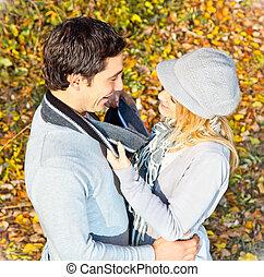 romance, couple, forêt, avoir, heureux