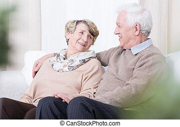 romance, dans, vieillesse
