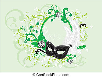 Romance frame - Luxury traditional venetian mask with...