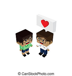 romance, geek, couple, amour, amant
