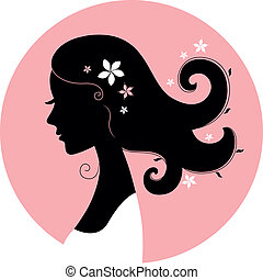 Romance girl floral silhouette in pink circle - Romance girl...