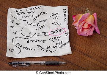 romance, griffonnage, serviette, -, dater