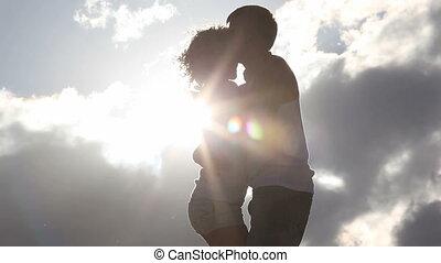 Romance  - Happy romantic couple dancing close each other