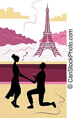 Romance In Paris Concept. Romantic Date, Man And Woman Silhouettes In Paris On Background Of Eiffel Tower. Man Making A Marriage Proposal To A Woman On His Knees. Vector Illustration In Flat Style