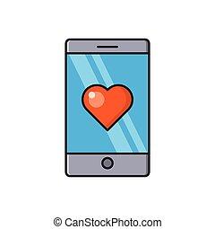 romance line flat icon