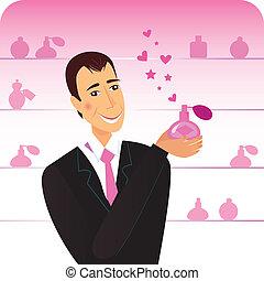 Romance man with perfume flacon