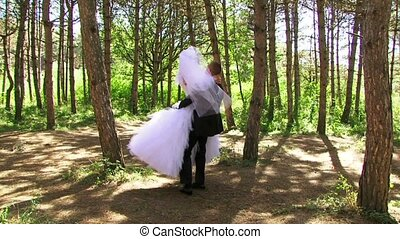 Romance Newlyweds Walk In The Woods.