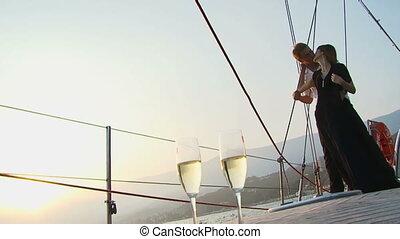 Romance on a yacht